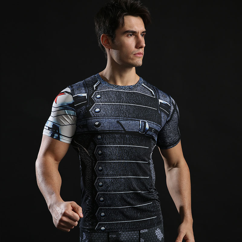 Dri-fit Superhero Winter Soldier Compression Shirt Short Sleeve