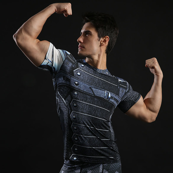 Dri-fit Winter Soldier Compression Gym Shirt Short Sleeve