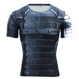 Dri-fit Winter Soldier Compression Shirt Short Sleeve Superhero Costume