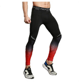mens compression jogging pants black red