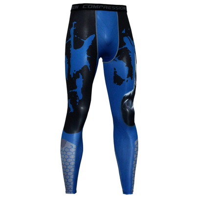 long compression pants for men blue