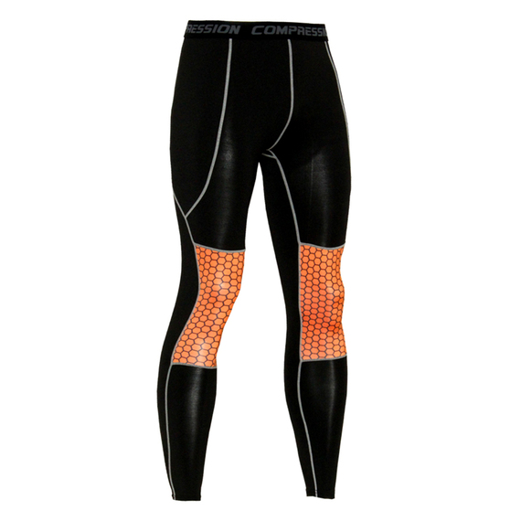 mens compression training leggings orange