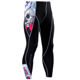 performance compression pants skull pattern
