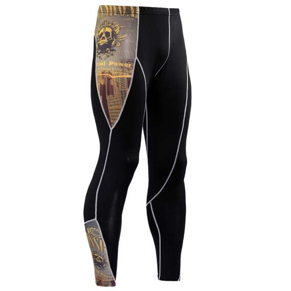 yellow compression pants skull pattern
