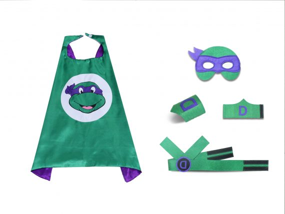 purple ninja turtle mask cape for kids