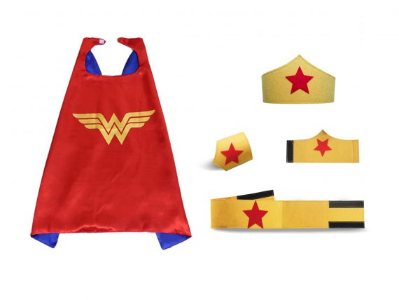 wonder woman cape and felt mask red