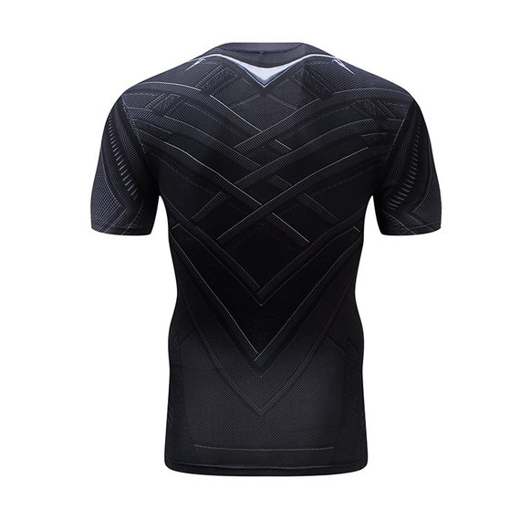 mens dri fit superhero compression shirt black panther workouts tee