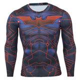 dri fit batman superhero compression shirt long sleeve