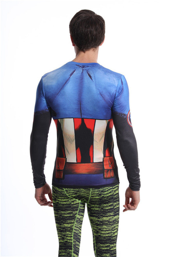 captain america workout gear long sleeve dri fit compression shirt