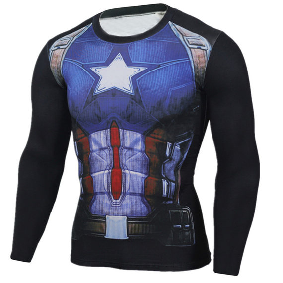 marvel captain america running costume long sleeve
