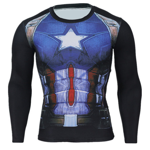 marvel captain america fitness shirt long sleeve