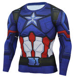 superhero long sleeve captain america compression shirts for men