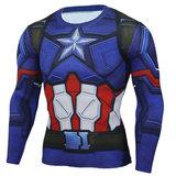 superhero long sleeve captain america compression shirts for men