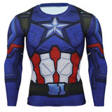 mens long sleeve dri fit captain america compression shirts