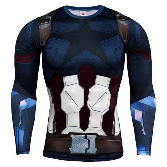 marvel long sleeve captain america compression shirt infinity war