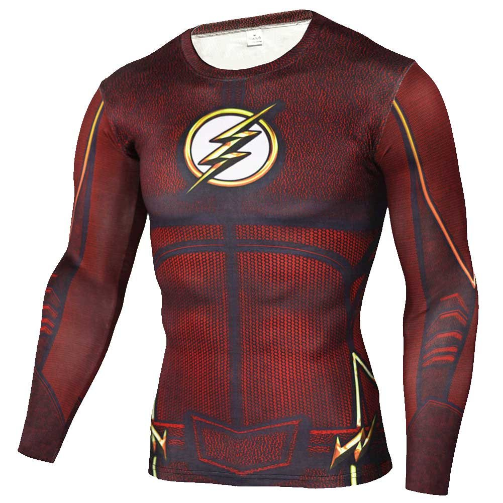 40d3f9f2a51ef6 Flash Long Sleeve Compression Shirt Red – Superhero Compression ...