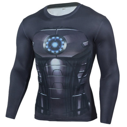 mens dri fit long sleeve iron man compression running shirts