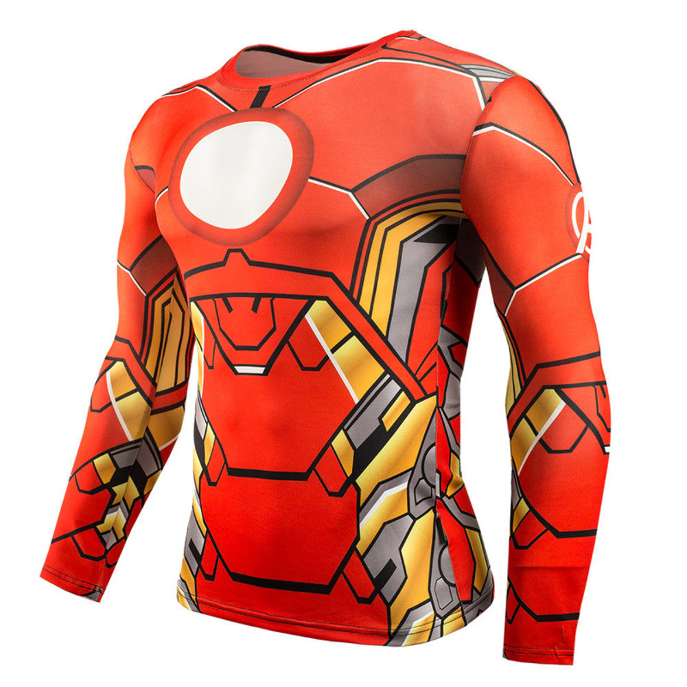 red iron man compression shirt long sleeve running shirt for mens