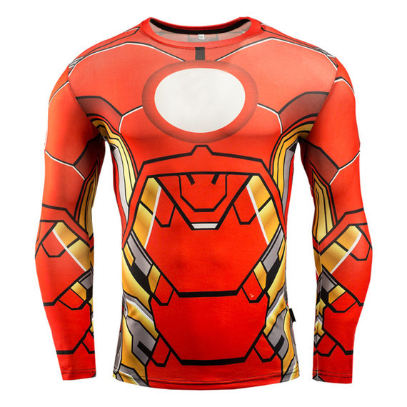 red iron man compression shirt long sleeve workouts t shirt for mens