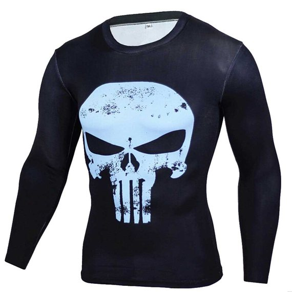punisher compression shirt long sleeve dri fit running tee blue