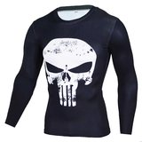 punisher workout shirt long sleeve dri fit compression shirt for men white