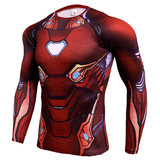 red iron man infinity war compression shirt long sleeve workouts tee