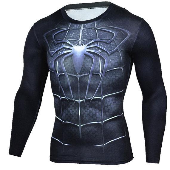 spiderman compression shirt long sleeve dri fit running shirt for men black
