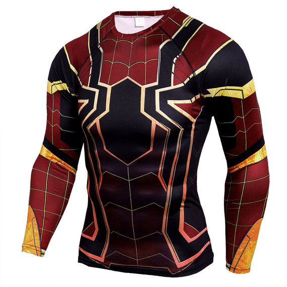 spider man infinity war compression shirt long sleeve gym shirt for man
