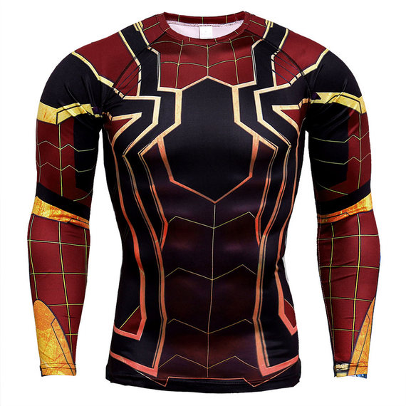 spider man shirt costume long sleeve compression shirt for man