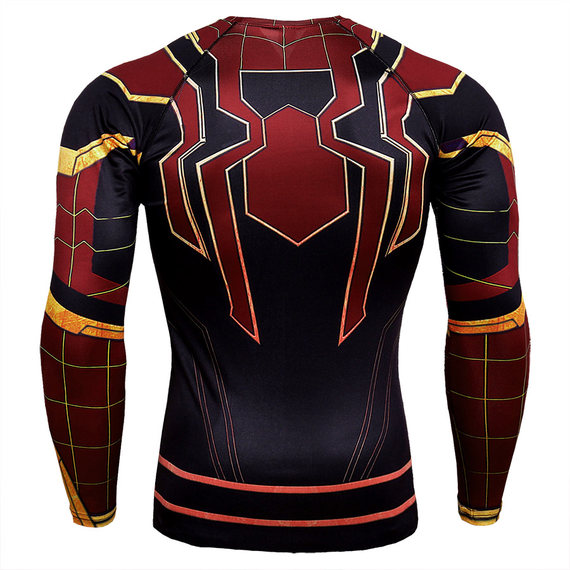 spider man gym shirt long sleeve dri fit compression mens