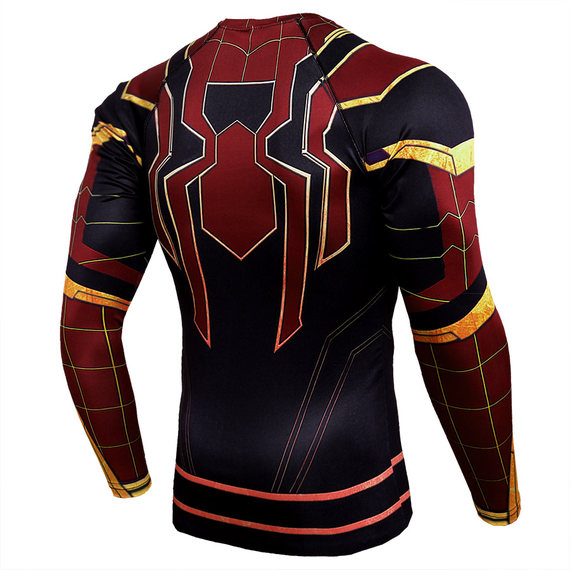 spider man workout shirt long sleeve compression running shirt