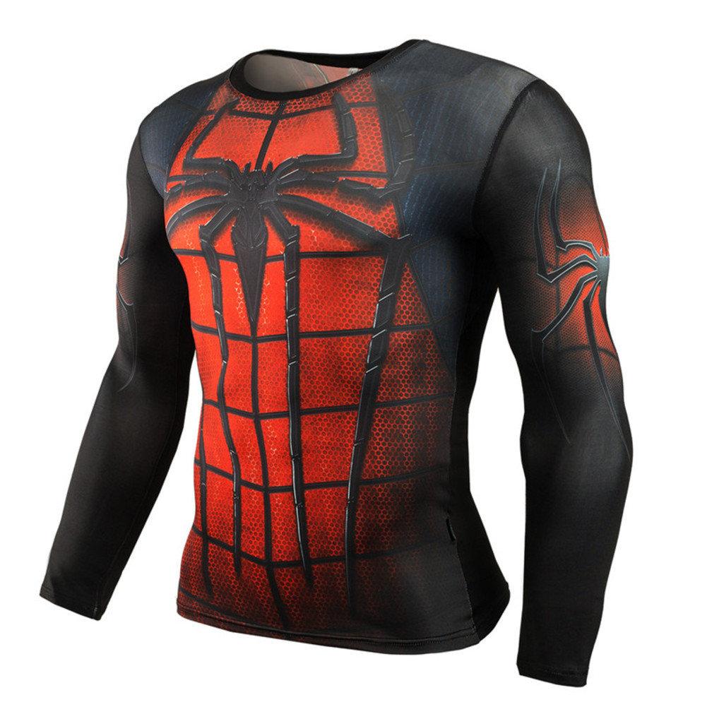 15b0ef866f109c Long Sleeve Spiderman Compression Shirt Red – Superhero Compression ...