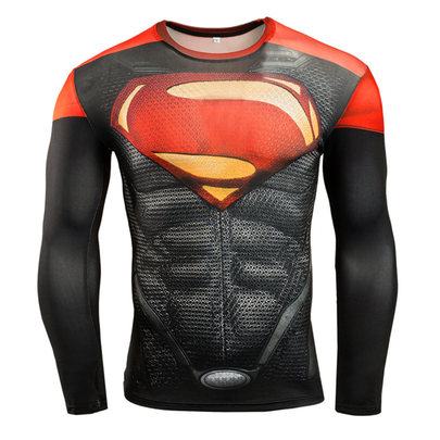 superman compression shirts long sleeve gym shirt red