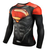 superman workout gear long sleeve compression shirt red