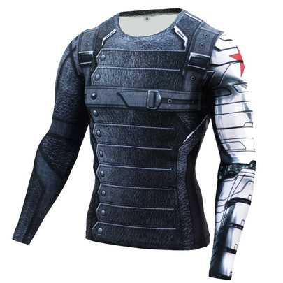 winter soldier compression shirt long sleeve superhero t shirt for man