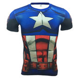 captain america compression shirt short sleeve workouts tee for mens