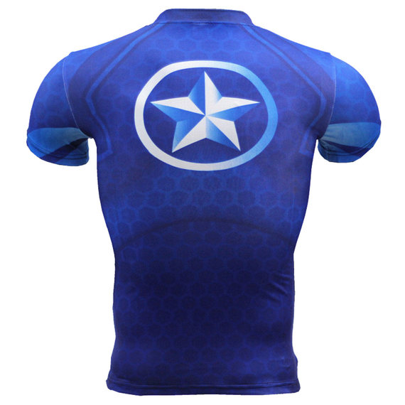 quick dry captain america short sleeve compression shirt for mens