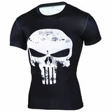 White punisher compression shirt short sleeve gym tee for mens