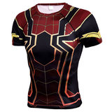 spider man infinity war t shirt short sleeve compression shirt