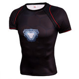 Marvel ironman workouts shirt short sleeve compression shirt for mens