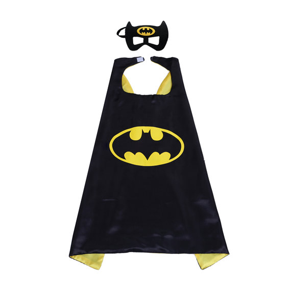 batman superhero cape and mask for kids party favor,halloween costume,cosplay - double layer,yellow