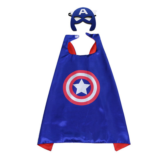 kids party favor captain america cape and mask set for halloween costume,cosplay,Masquerade - double layer,blue