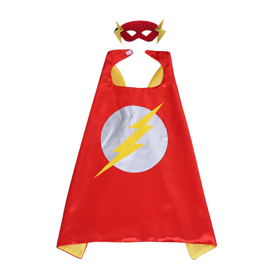 flash costume for kids superhero cape and mask set,party favor,cosplay - double layer,Red