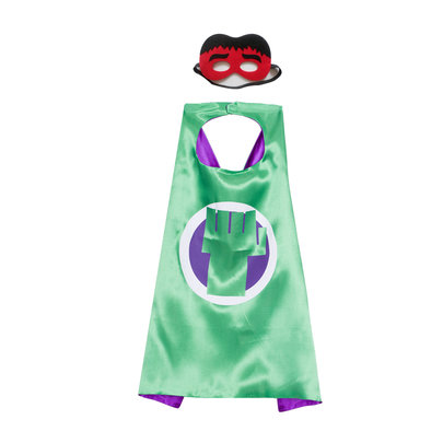 hulk costume for kids superhero cape and mask set party favor,double layer,green