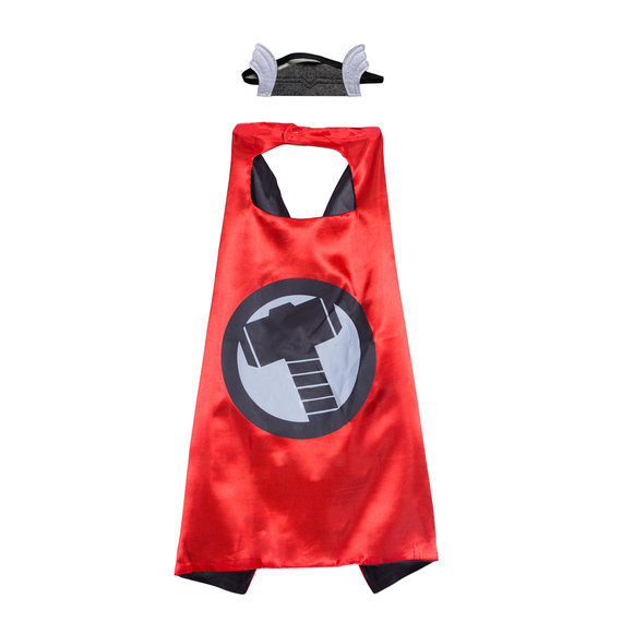 thor costume cosplay for kids superhero cape and mask set,double layer,Red