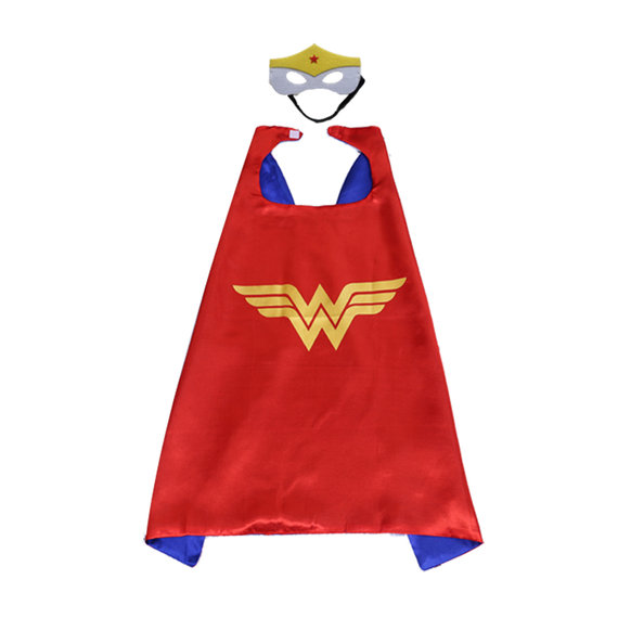 wonder woman cape and mask set for childrens,double layer,Red