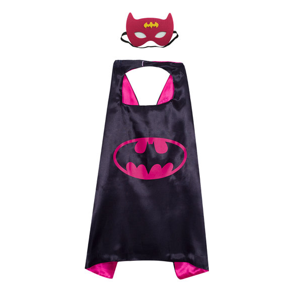 batman superhero cape and mask for kids cosplay costume,double layer,Rose