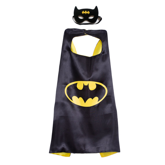 batman cosplay costume kids superhero cape and mask set,double layer,Yellow