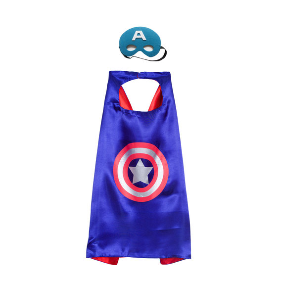 captain america costume kids superhero cape and mask set for party favor,double layer,Blue