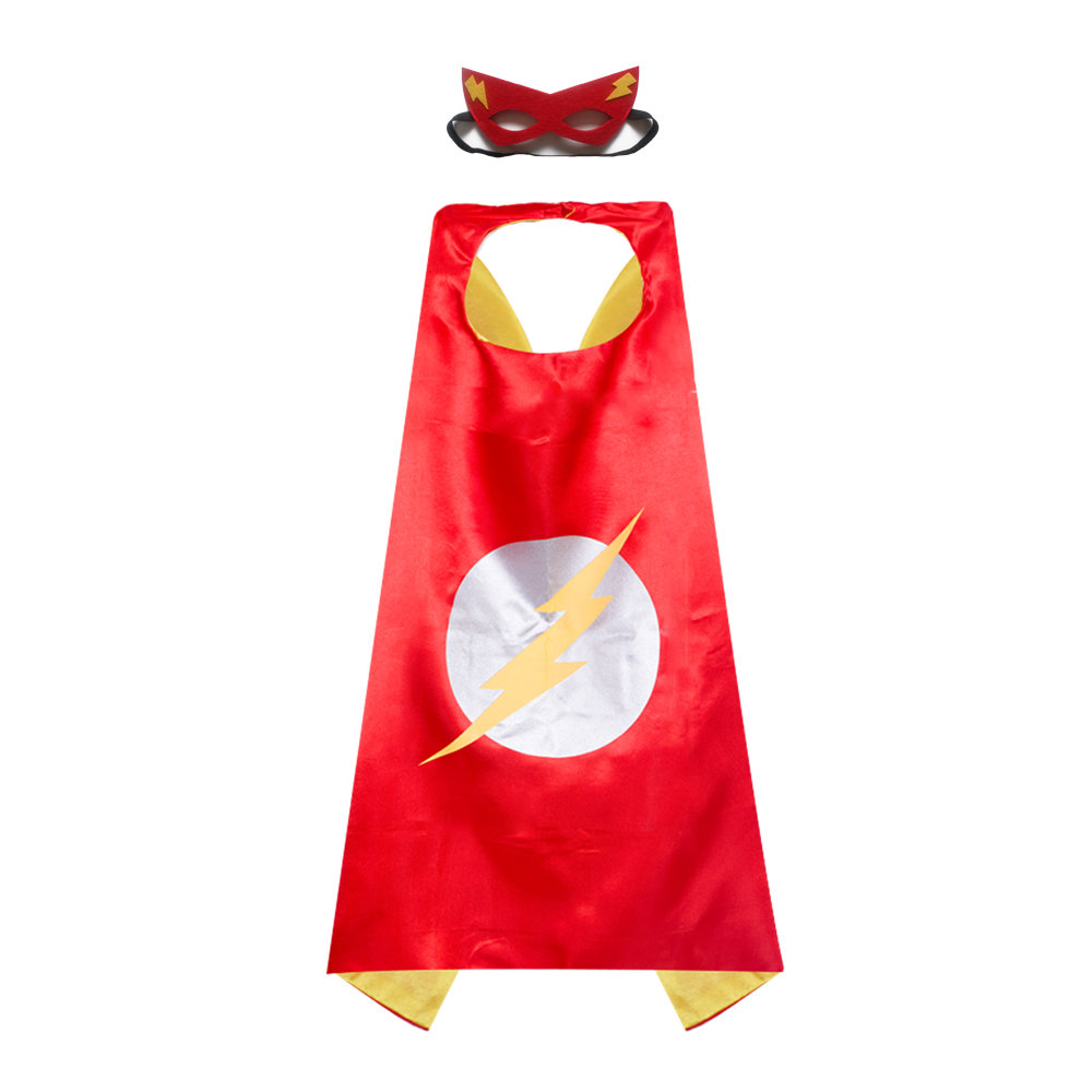 Kids Girl and Boy Flash Superhero Cape Mask Costume